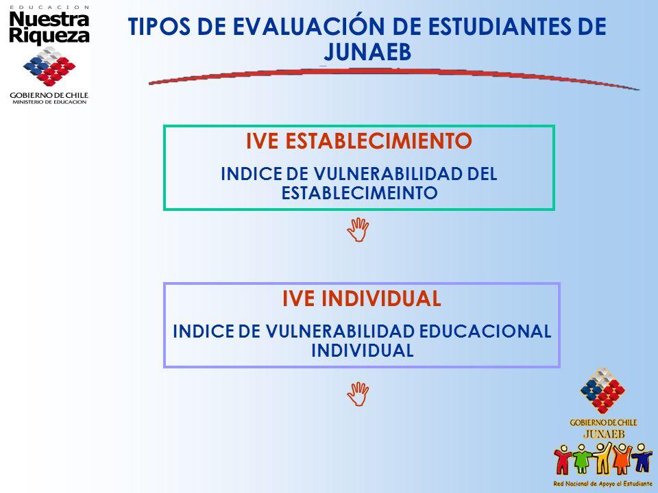   TIPOS DE EVALUACIÓN DE ESTUDIANTES DE JUNAEB IVE ESTABLECIMIENTO