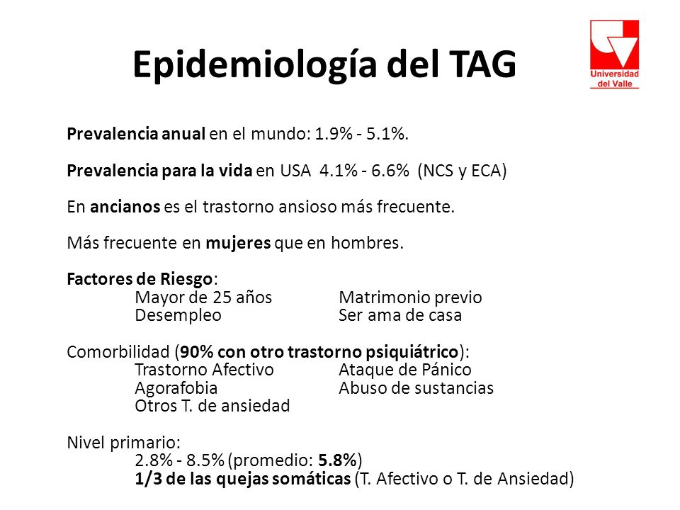Epidemiología del TAG Prevalencia anual en el mundo: 1.9% - 5.1%.