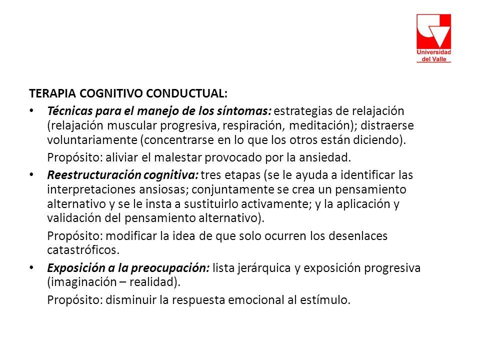 TERAPIA COGNITIVO CONDUCTUAL: