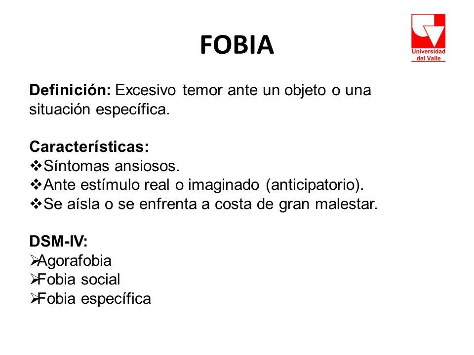 FOBIA Definición: Excesivo temor ante un objeto o una situación específica. Características: Síntomas ansiosos.