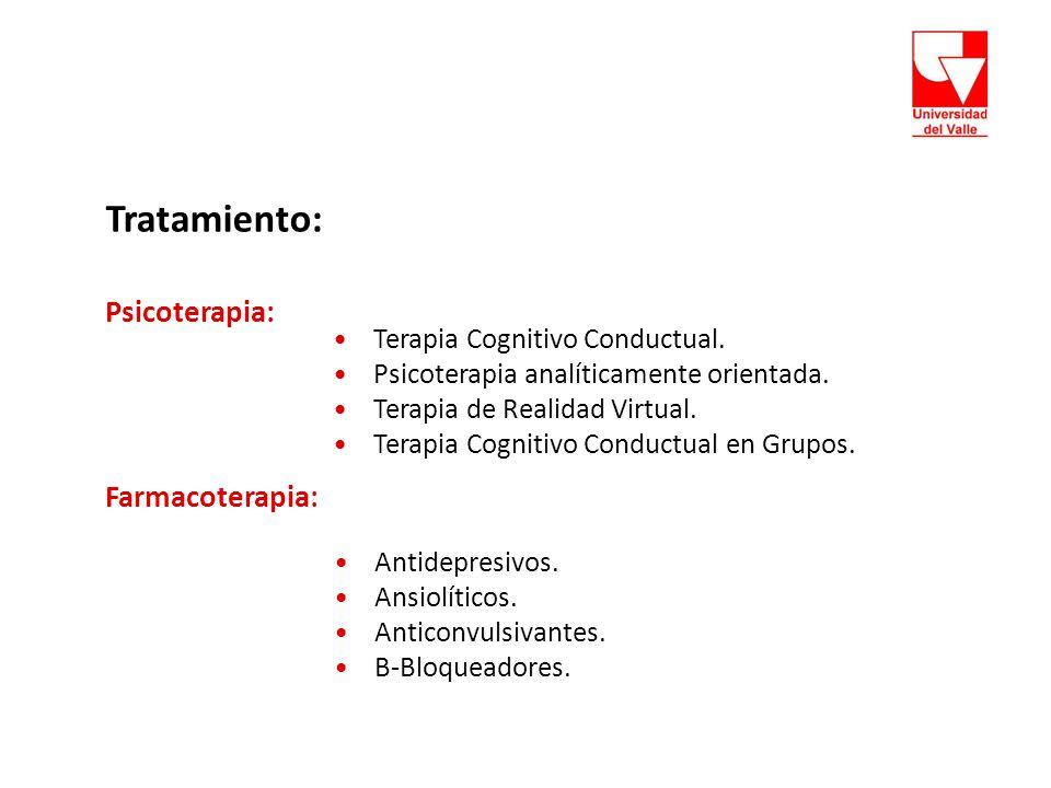 Tratamiento: Psicoterapia: Farmacoterapia: