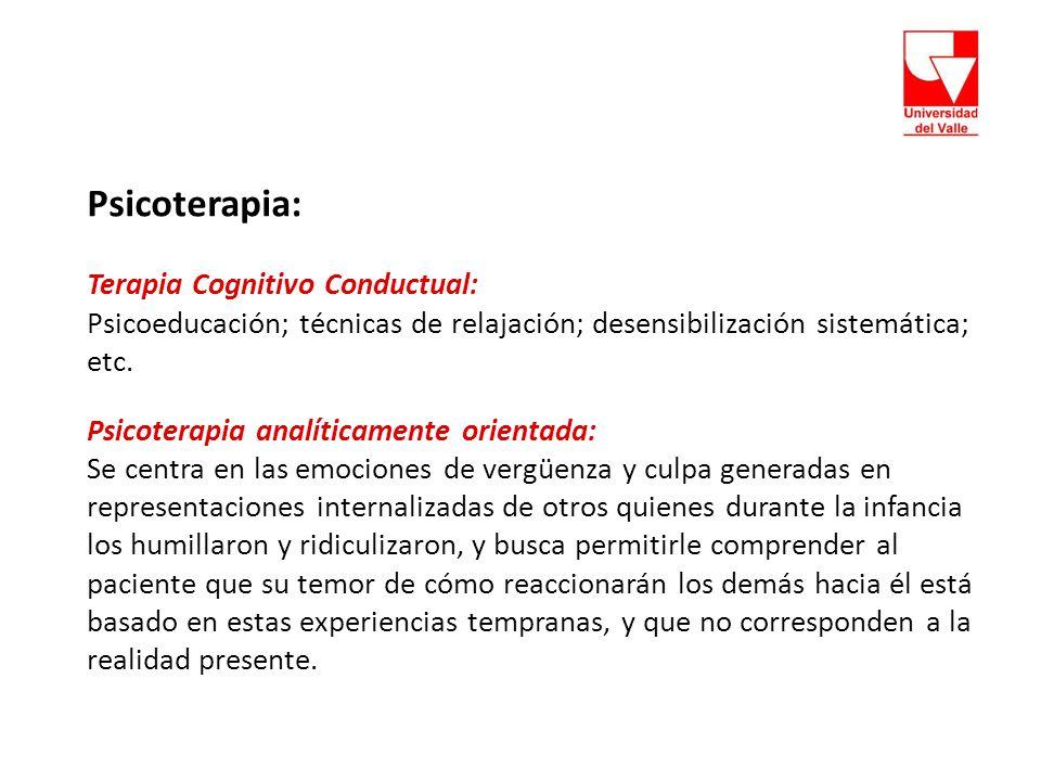 Psicoterapia: Terapia Cognitivo Conductual: