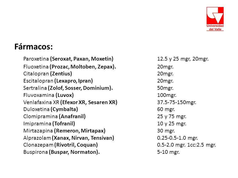 Paroxetina (Seroxat, Paxan, Moxetin) 12.5 y 25 mgr, 20mgr.