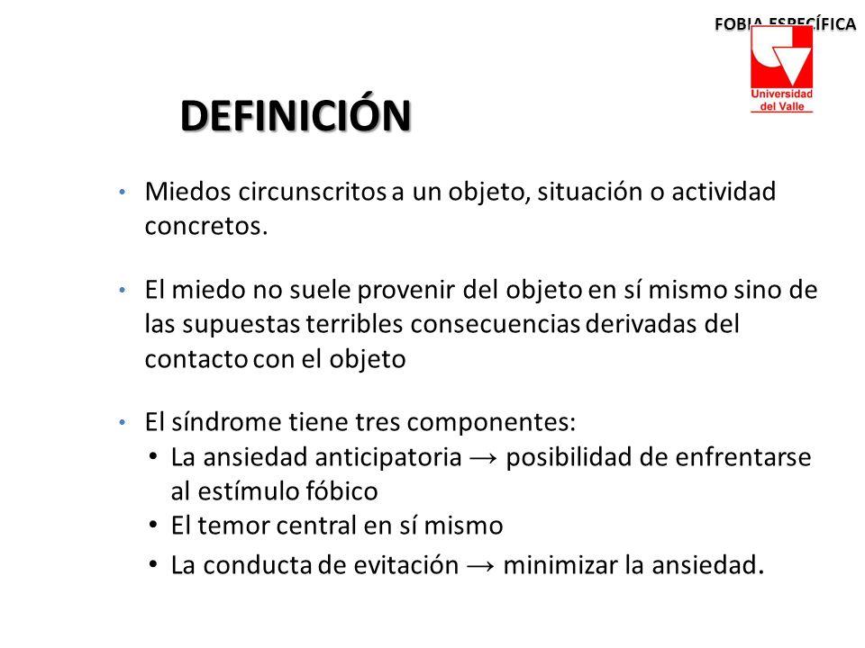 FOBIA ESPECÍFICA DEFINICIÓN. Miedos circunscritos a un objeto, situación o actividad concretos.