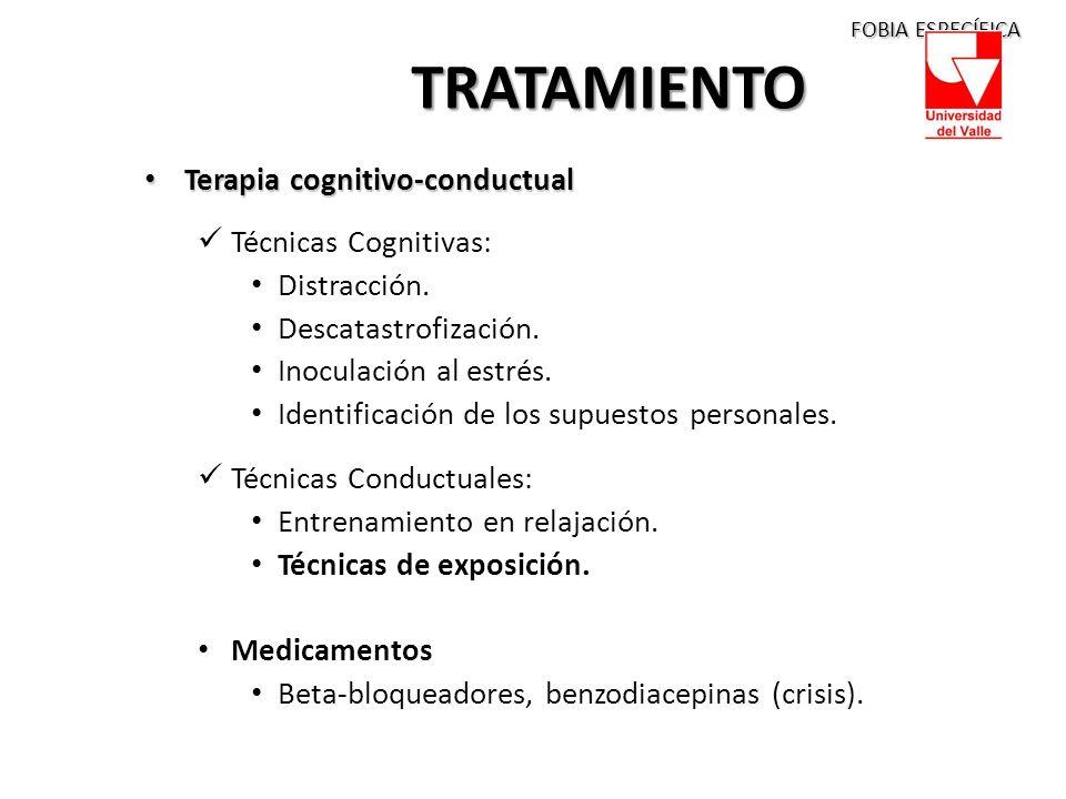 TRATAMIENTO Terapia cognitivo-conductual Técnicas Cognitivas: