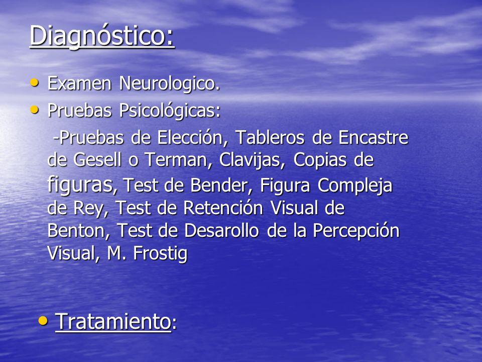 Diagnóstico: Tratamiento: Examen Neurologico. Pruebas Psicológicas: