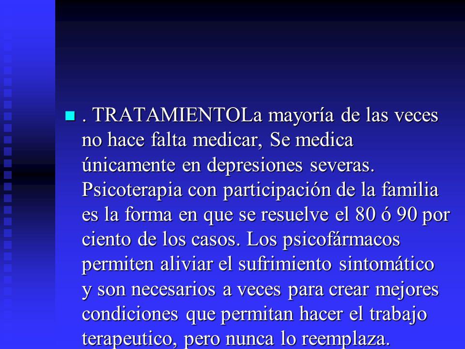 TRATAMIENTOLa mayoría de las veces no hace falta medicar, Se medica únicamente en depresiones severas.