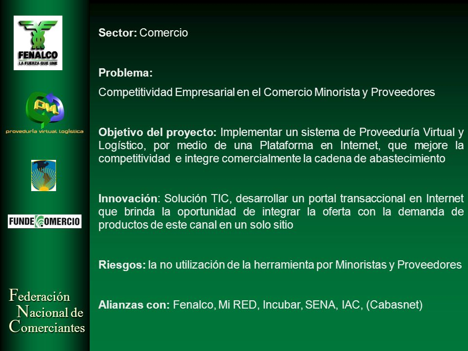 Sector: Comercio Problema: Competitividad Empresarial en el Comercio Minorista y Proveedores.