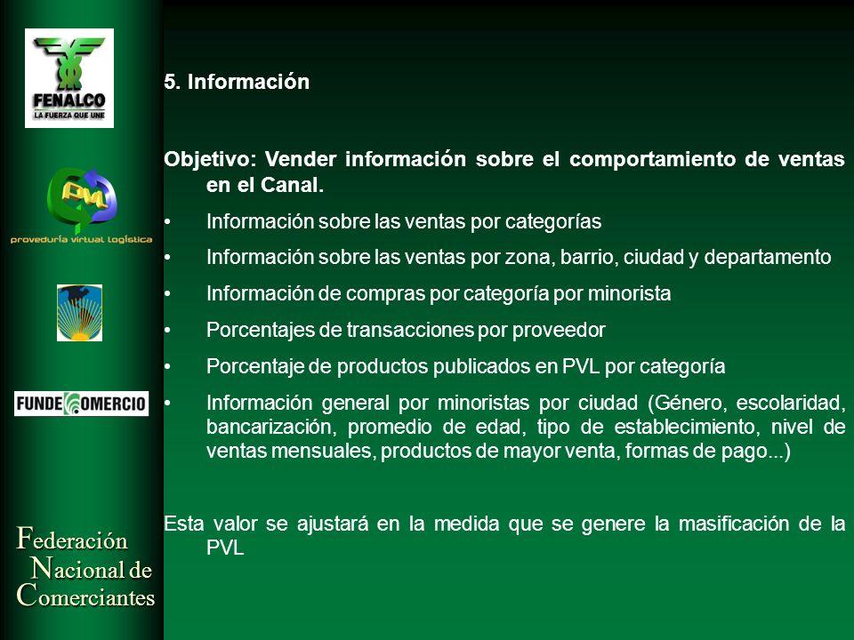 5. Información Objetivo: Vender información sobre el comportamiento de ventas en el Canal. Información sobre las ventas por categorías.