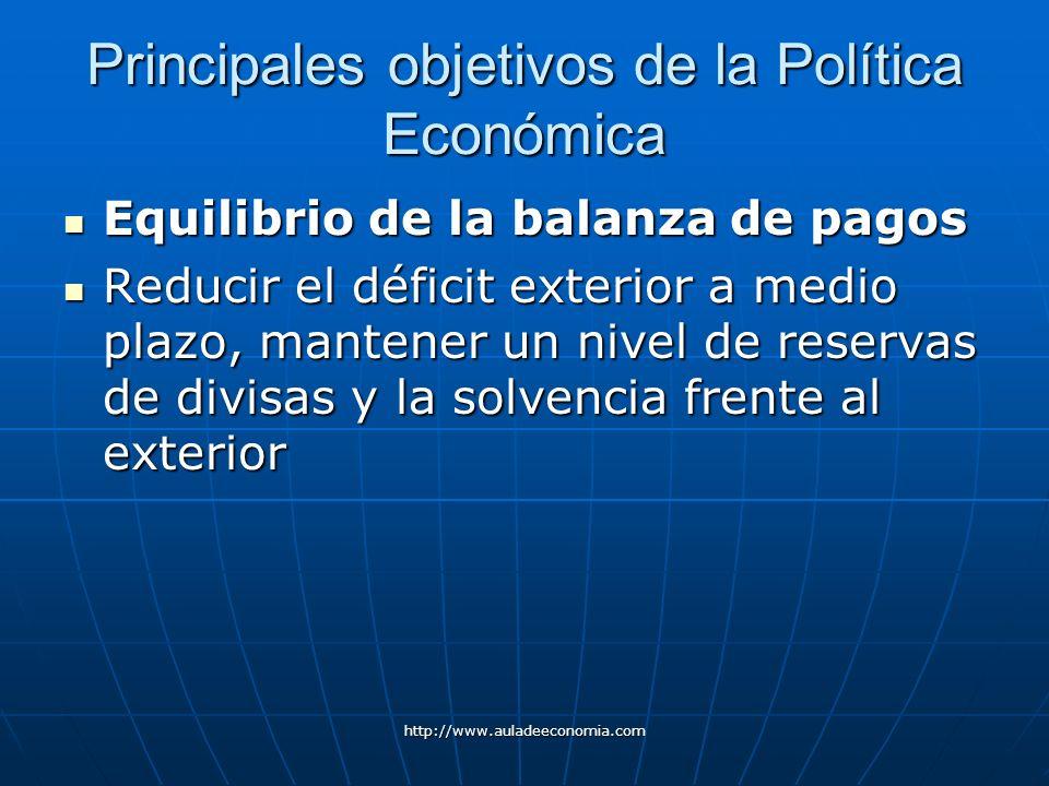 Principales objetivos de la Política Económica