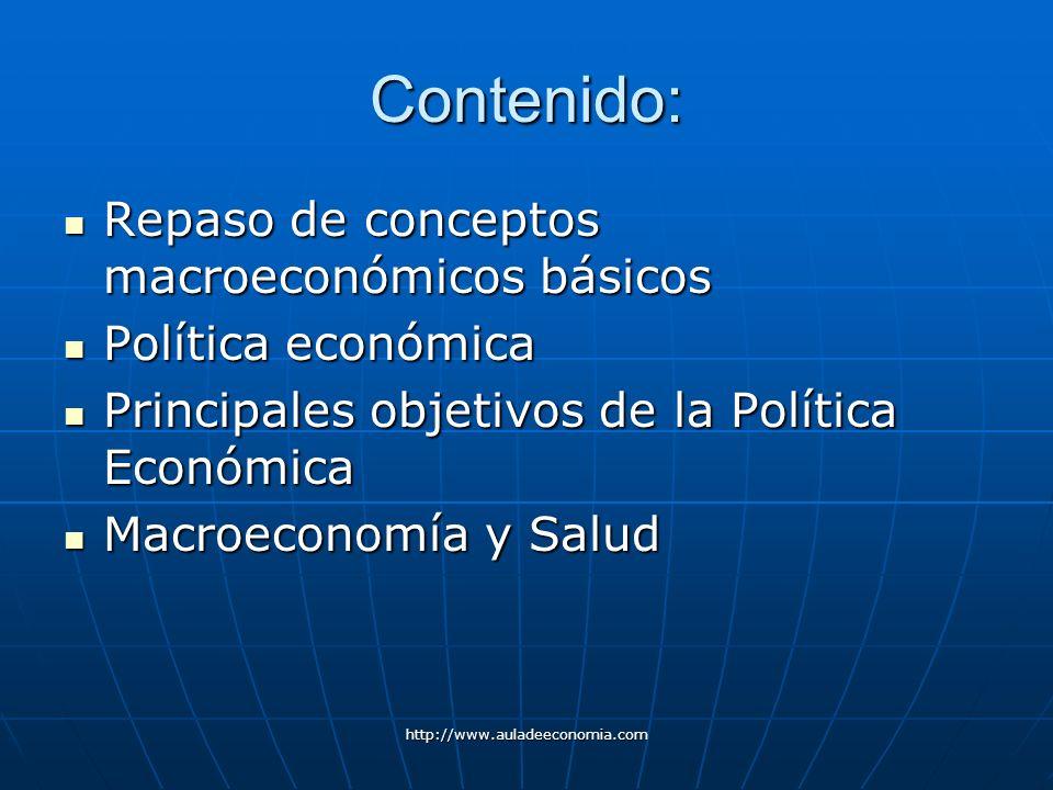 Contenido: Repaso de conceptos macroeconómicos básicos