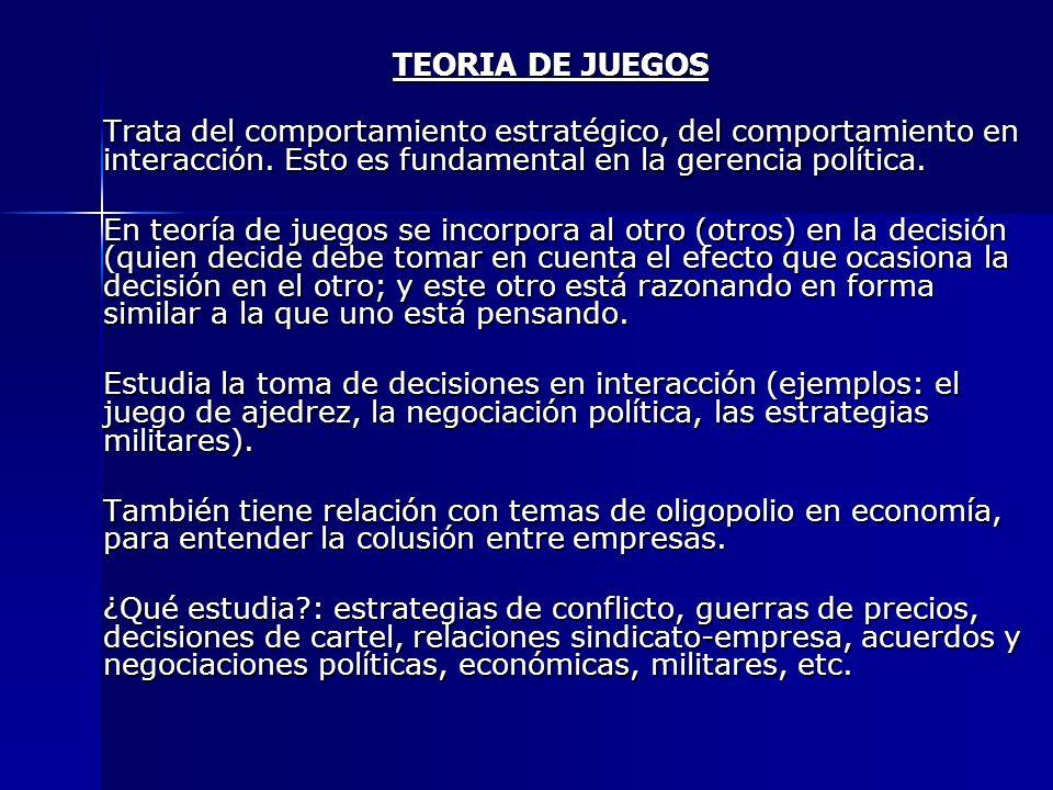 TEORIA DE JUEGOSTrata del comportamiento estratégico, del comportamiento en interacción. Esto es fundamental en la gerencia política.