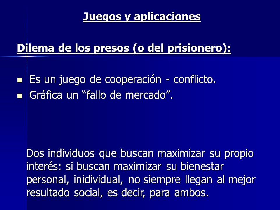 Juegos y aplicaciones Dilema de los presos (o del prisionero): Es un juego de cooperación - conflicto.