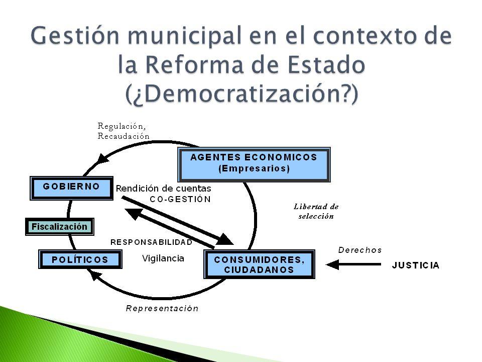 Gestión municipal en el contexto de la Reforma de Estado (¿Democratización )