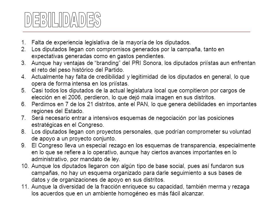 DEBILIDADESFalta de experiencia legislativa de la mayoría de los diputados.