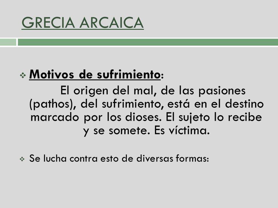 GRECIA ARCAICA Motivos de sufrimiento: