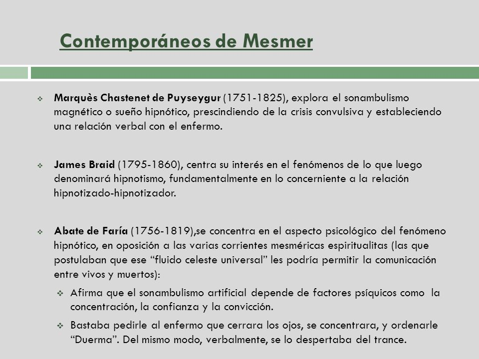 Contemporáneos de Mesmer
