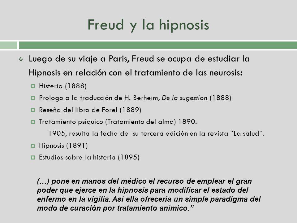 Freud y la hipnosis Luego de su viaje a Paris, Freud se ocupa de estudiar la Hipnosis en relación con el tratamiento de las neurosis: