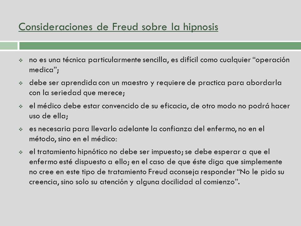 Consideraciones de Freud sobre la hipnosis