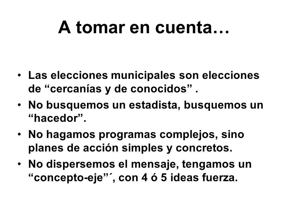 A tomar en cuenta… Las elecciones municipales son elecciones de cercanías y de conocidos . No busquemos un estadista, busquemos un hacedor .