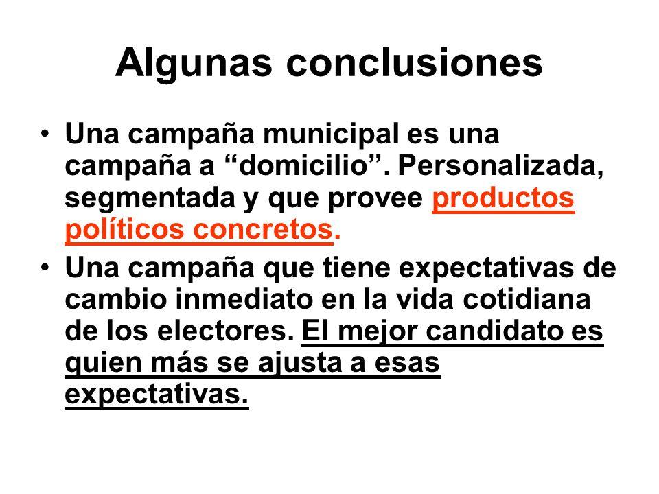 Algunas conclusiones Una campaña municipal es una campaña a domicilio . Personalizada, segmentada y que provee productos políticos concretos.
