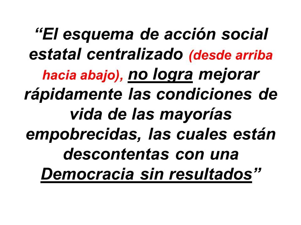 El esquema de acción social estatal centralizado (desde arriba hacia abajo), no logra mejorar rápidamente las condiciones de vida de las mayorías empobrecidas, las cuales están descontentas con una Democracia sin resultados