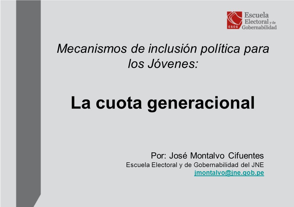 Mecanismos de inclusión política para los Jóvenes: La cuota generacional