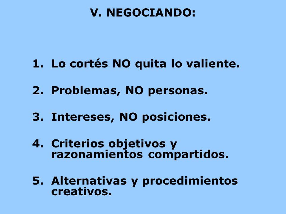V. NEGOCIANDO:Lo cortés NO quita lo valiente. Problemas, NO personas. Intereses, NO posiciones. Criterios objetivos y razonamientos compartidos.