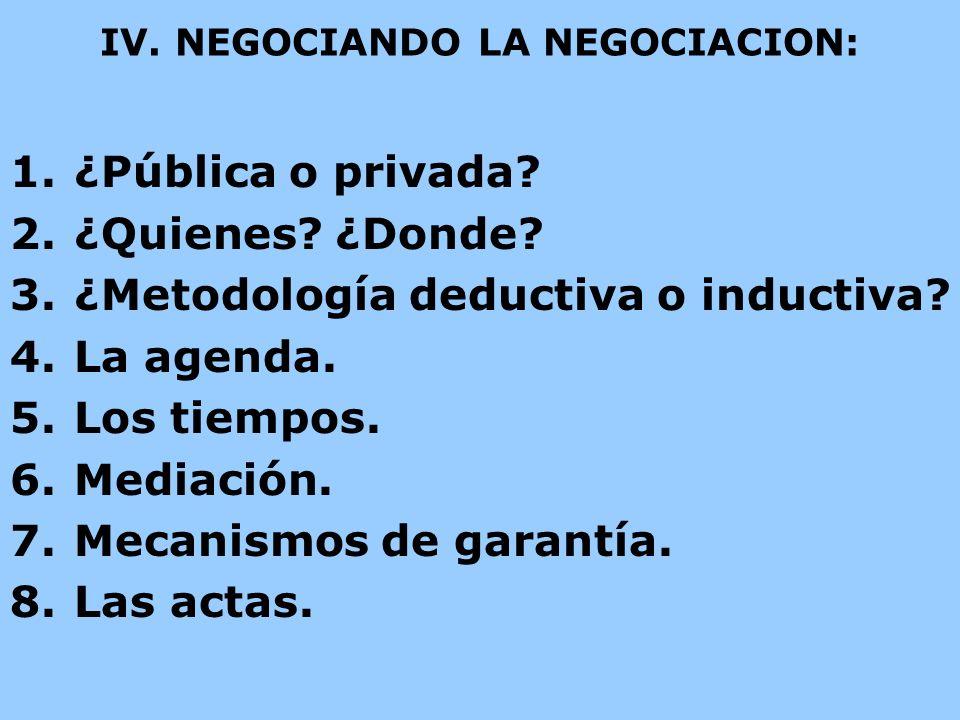IV. NEGOCIANDO LA NEGOCIACION: