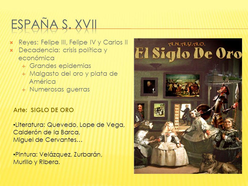 España s. xvii Reyes: Felipe III, Felipe IV y Carlos II