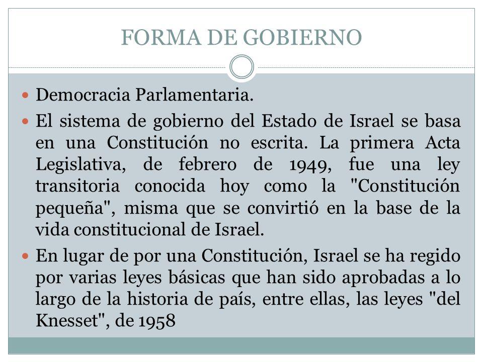 FORMA DE GOBIERNO Democracia Parlamentaria.