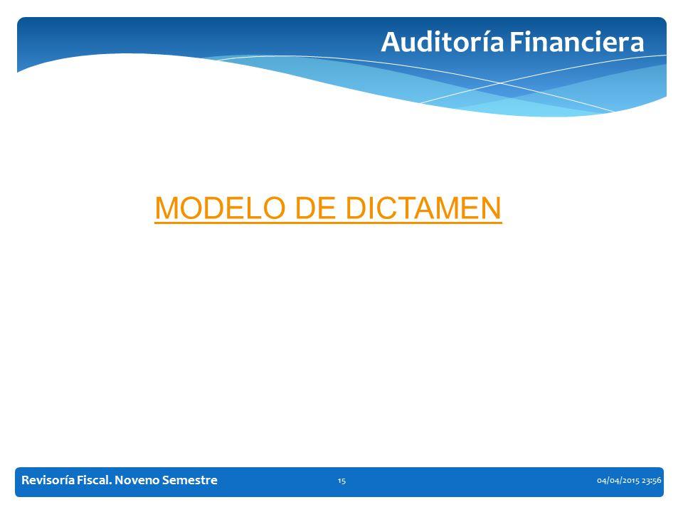 Auditoría Financiera MODELO DE DICTAMEN