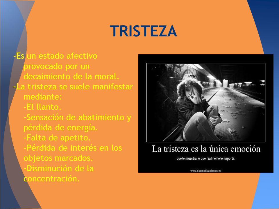 TRISTEZA -Es un estado afectivo provocado por un decaimiento de la moral. -La tristeza se suele manifestar mediante:
