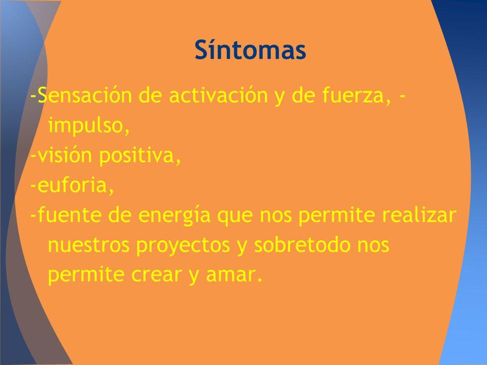 Síntomas -Sensación de activación y de fuerza, -impulso,