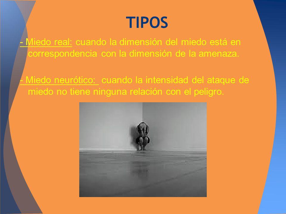 TIPOS- Miedo real: cuando la dimensión del miedo está en correspondencia con la dimensión de la amenaza.