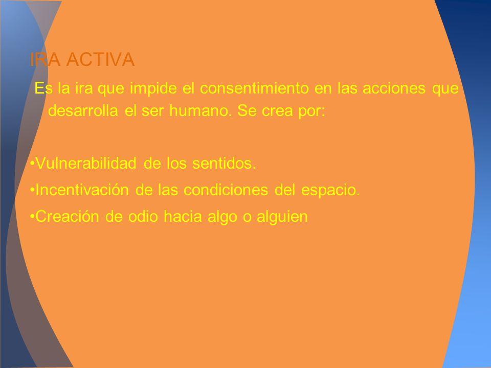 IRA ACTIVAEs la ira que impide el consentimiento en las acciones que desarrolla el ser humano. Se crea por: