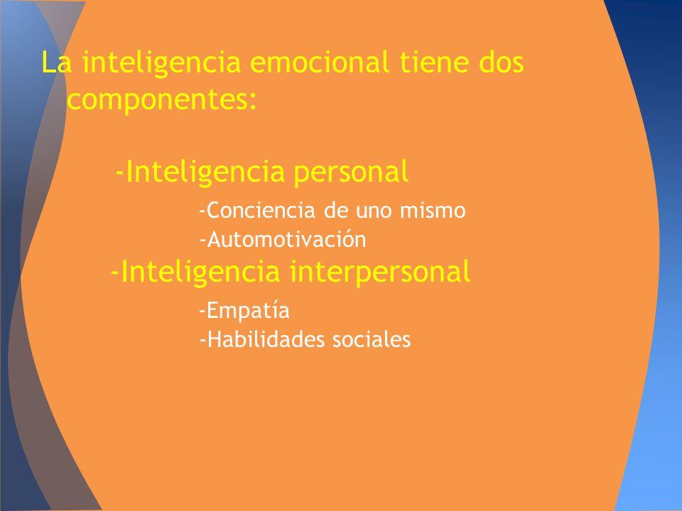 La inteligencia emocional tiene dos componentes: