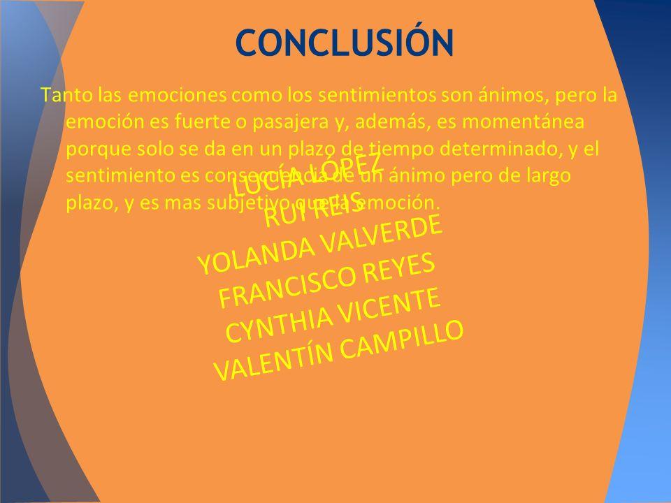 CONCLUSIÓN LUCÍA LÓPEZ RUI REIS YOLANDA VALVERDE FRANCISCO REYES