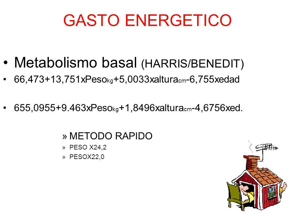 GASTO ENERGETICO Metabolismo basal (HARRIS/BENEDIT)