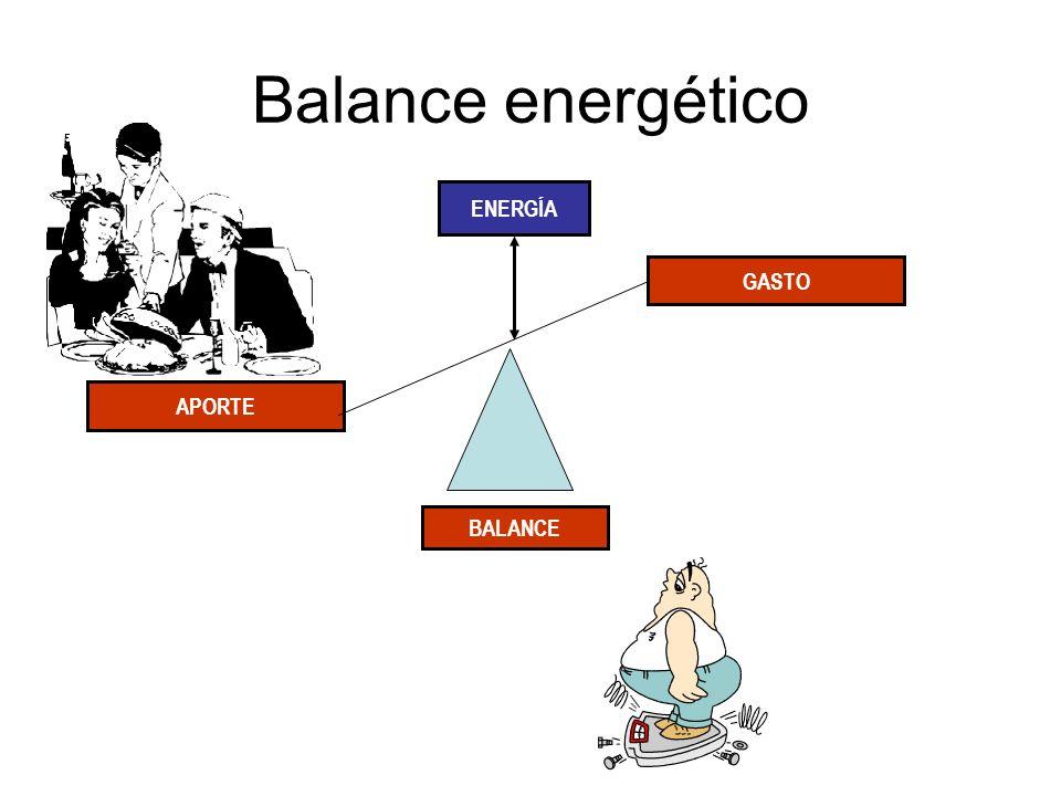 Balance energético ENERGÍA GASTO APORTE BALANCE