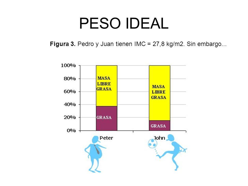 PESO IDEAL Figura 3. Pedro y Juan tienen IMC = 27,8 kg/m2. Sin embargo...