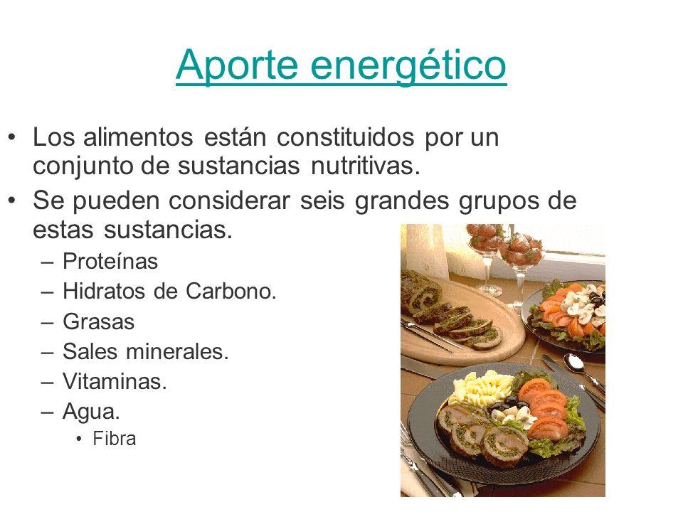 Aporte energético Los alimentos están constituidos por un conjunto de sustancias nutritivas.