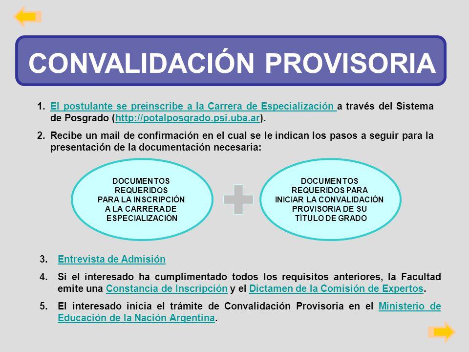 CONVALIDACIÓN PROVISORIA INICIAR LA CONVALIDACIÓN