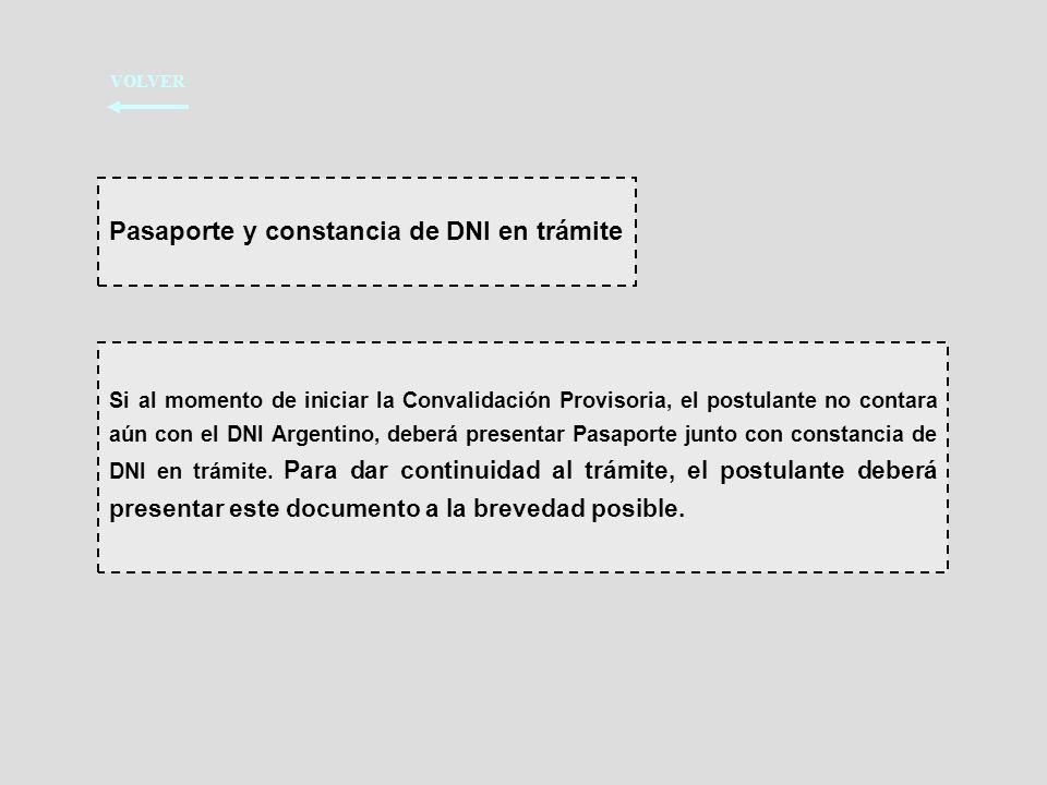 Pasaporte y constancia de DNI en trámite
