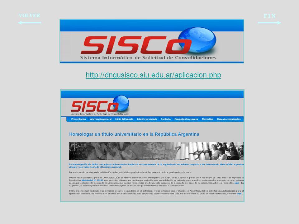 VOLVER F I N http://dngusisco.siu.edu.ar/aplicacion.php