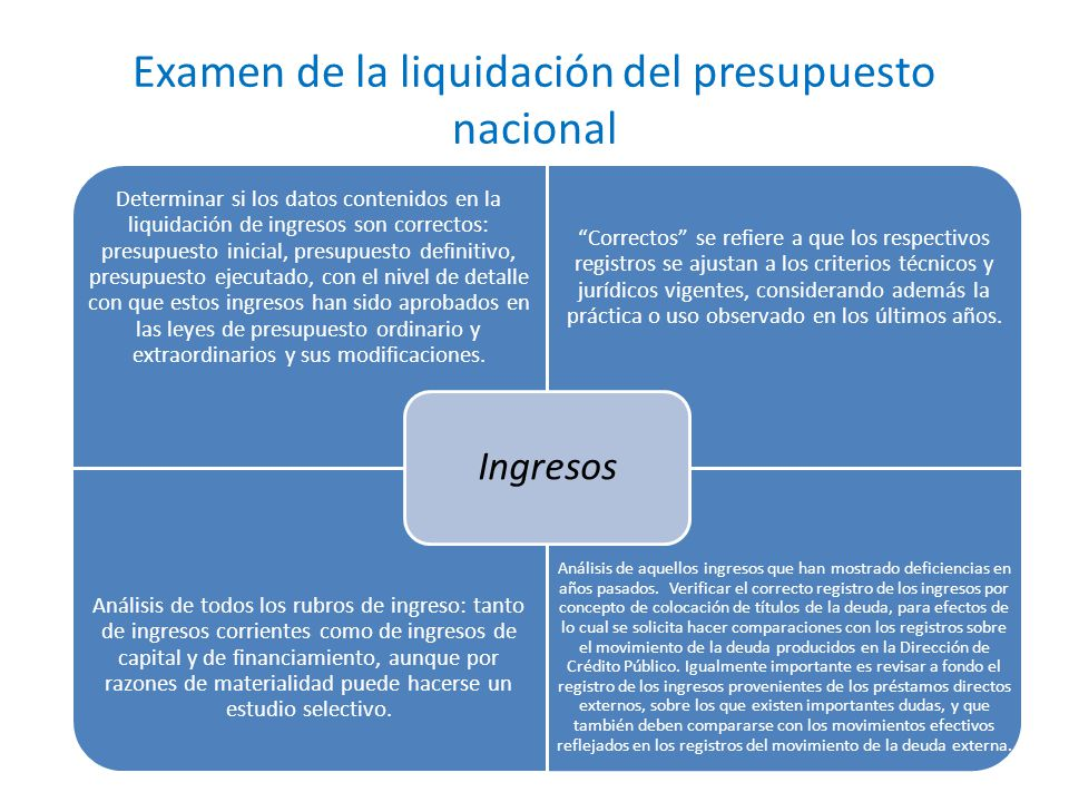 Examen de la liquidación del presupuesto nacional