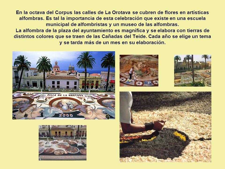En la octava del Corpus las calles de La Orotava se cubren de flores en artísticas alfombras.