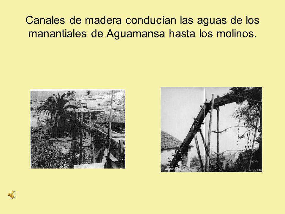 Canales de madera conducían las aguas de los manantiales de Aguamansa hasta los molinos.