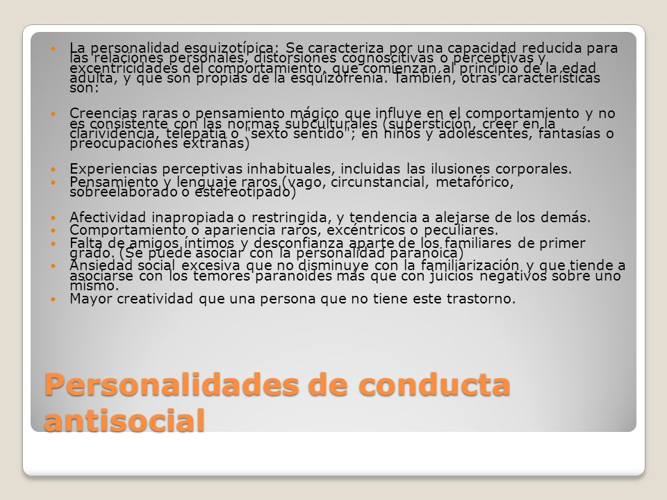 Personalidades de conducta antisocial