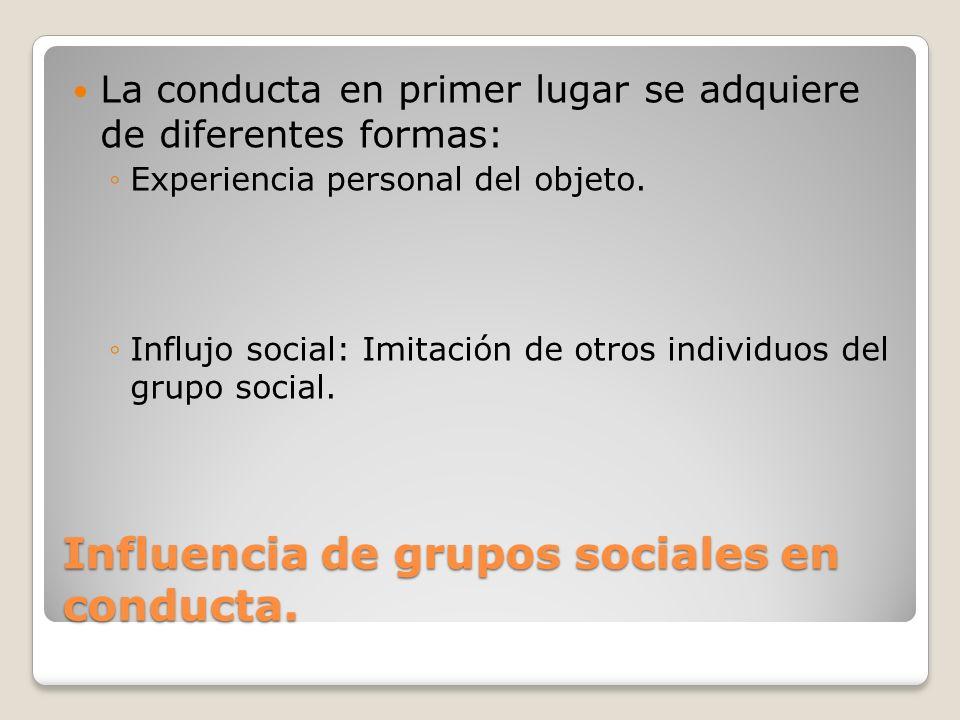 Influencia de grupos sociales en conducta.